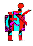 MOTHER AND HAPPY CHILD. Abstract image of a mother carrying a child on her back. Illustration  in graphic , geometric simple lines and colors. Dots in texture Royalty Free Stock Image