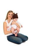 Mother with happy and cute infant Royalty Free Stock Photography