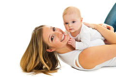 Mother with happy and cute infant baby Stock Photos