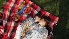 Mother and happy little son speak and laugh lying on grass. Beautiful mother and happy little son speak and laugh lying on red checkered blanket close vertical stock video