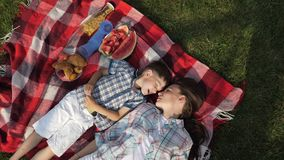 Mother and happy little son speak and laugh lying on grass. Beautiful mother and happy little son speak and laugh lying on red checkered blanket close vertical stock video footage