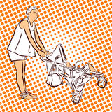 Mother have Fun with Buggy and Child in Holidays. Royalty Free Stock Photo