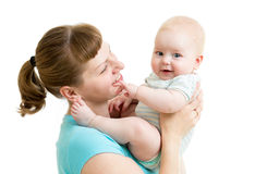 Mother having fun with baby isolated Royalty Free Stock Photo