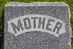 Mother Headstone. Granite Cemetery Grave Headstone Marked with Mother stock image