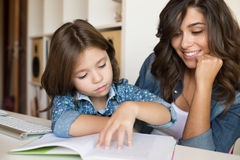 Mother helping child with homework Royalty Free Stock Photo