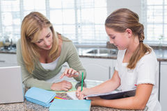 Mother helping daughter doing homework Royalty Free Stock Photos