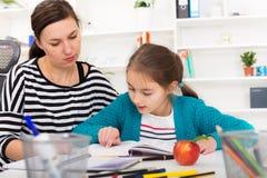 Mother Helping Daughter With Homework. Stock Photos