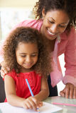 Mother Helping Daughter With Homework At Home Royalty Free Stock Photo