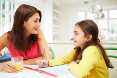 Mother Helping Daughter With Homework Stock Images