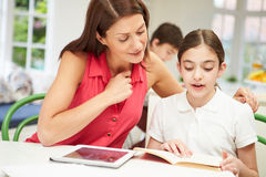 Mother Helping Daughter With Homework Using Tablet Royalty Free Stock Image