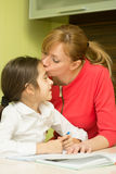 Mother helping her daughter Royalty Free Stock Photos