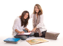 Mother helping her daughter with homework Royalty Free Stock Photography