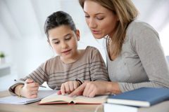 Mother helping her daughter with homework Royalty Free Stock Images