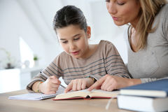 Mother helping her daughter with homework Royalty Free Stock Image