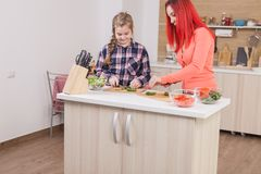 Mother helping her daughter to cut cucumbers for salad royalty free stock photo