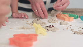 Mother helping little boys to make animal cookies stock video footage