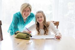 Mother helping teenaged girl with homework. A Mother helping teenaged girl with homework Royalty Free Stock Photos