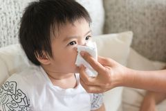 Mother helping to blow asian child`s nose with paper tissue. Sea royalty free stock photo