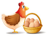 The mother hen and a basket of eggs Royalty Free Stock Photo