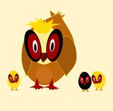 Mother hen with chicks. Cartoon illustration of a mother hen with her brood Royalty Free Stock Images