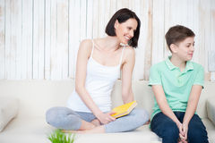 Mother and her adult son together Stock Photos