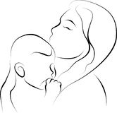 Mother and her baby. Vector illustration of mother and her baby Royalty Free Stock Photo