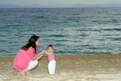 Mother with her baby at beach Royalty Free Stock Photography