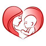 Mother with her baby, heart, outline vector silhouette, mother care icon. Royalty Free Stock Photo