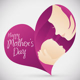 Mother with her Baby in a Heart-shape for Mother's Day, Vector Illustration stock photos