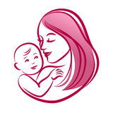 Mother with her baby, outline vector silhouette, mother care icon. Royalty Free Stock Photo