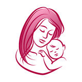 Mother with her baby, outline vector silhouette, mother care icon. Royalty Free Stock Photos