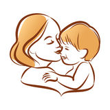 Mother with her baby, outline vector silhouette, mother care icon. Royalty Free Stock Image
