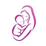 Mother and her baby silhouette Royalty Free Stock Image