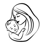 Mother with her baby. Stylized outline symbol. Motherhood, love. Mother with her baby. Stylized outline symbol. Motherhood and love, mother care. Silhouette or Stock Images
