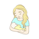 Mother and her baby. Vector hand drawn illustration Royalty Free Stock Images