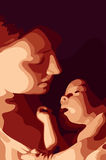 Mother and her baby. Vector illustration Royalty Free Stock Photography