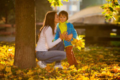 Mother with her boy in the park Royalty Free Stock Photos