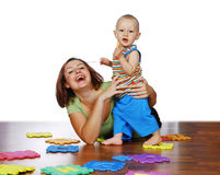 Mother and her child. The mother is playing with her child Royalty Free Stock Image