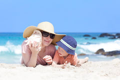 Mother and her child at a beach Royalty Free Stock Image