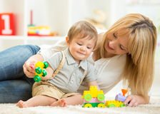 Mother with her child boy play together Stock Photos