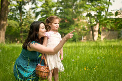 Mother with her child having great time outdoors Royalty Free Stock Photos