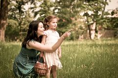 Mother with her child having great time outdoors Royalty Free Stock Photography