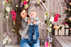 Mother and her child. Mom playing with laughing kid. Family at home Royalty Free Stock Photography