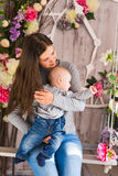 Mother and her child. Mom playing with laughing kid. Family at home Royalty Free Stock Photo