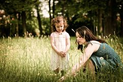 Mother with her child outdoors Royalty Free Stock Photos