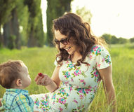 Mother with her child in the park Stock Photo