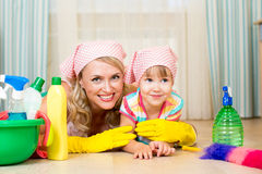 Mother and her child ready to room cleaning Stock Photo