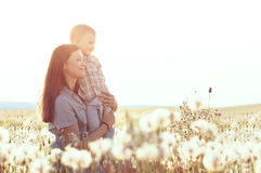 Mother with her child in sunlight Stock Photo