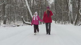 Mother with her child walk in park at winter day. Slowmotion stock video footage