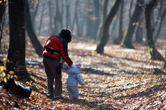Mother with her child walking in the forest Royalty Free Stock Photos